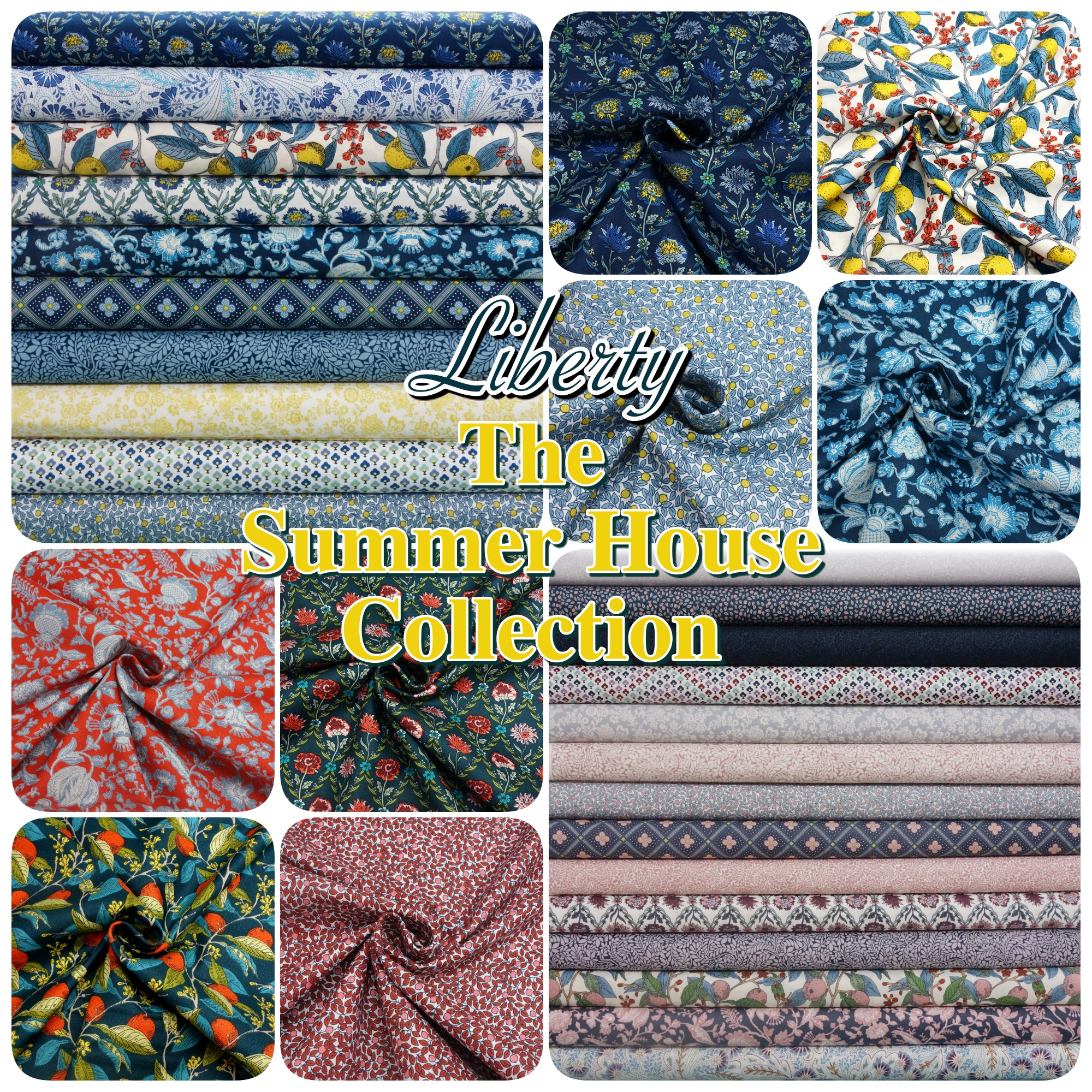Grey 100/% Cotton Patchwork Fabric Liberty The Summerhouse Collection Pink